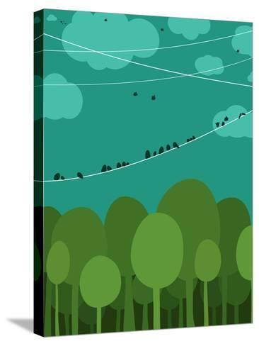Forest and Birds Sitting on Wires Graphic Design. Nature Landscape Background. Vector Eps8 Illustra-Popmarleo-Stretched Canvas Print