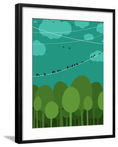 Forest and Birds Sitting on Wires Graphic Design. Nature Landscape Background. Vector Eps8 Illustra-Popmarleo-Framed Art Print