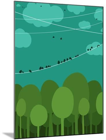 Forest and Birds Sitting on Wires Graphic Design. Nature Landscape Background. Vector Eps8 Illustra-Popmarleo-Mounted Art Print