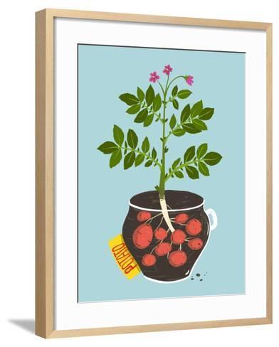 Growing Potato with Green Leafy Top in Pot. Vegetable Container Gardening Illustration. Raster Vari-Popmarleo-Framed Art Print