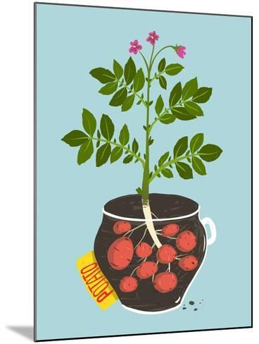 Growing Potato with Green Leafy Top in Pot. Vegetable Container Gardening Illustration. Raster Vari-Popmarleo-Mounted Art Print