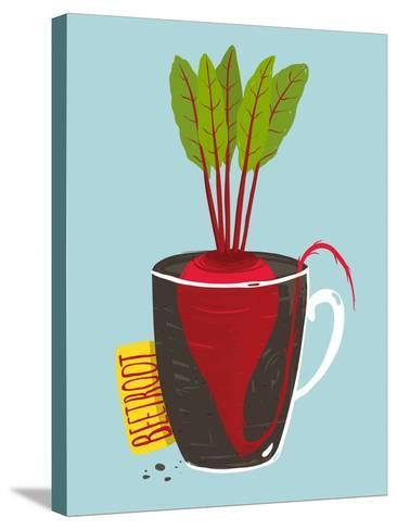 Growing Beetroot with Green Leafy Top in Mug. Vegetable Container Gardening Illustration. Layered V-Popmarleo-Stretched Canvas Print
