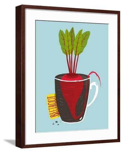 Growing Beetroot with Green Leafy Top in Mug. Vegetable Container Gardening Illustration. Layered V-Popmarleo-Framed Art Print