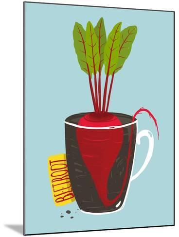 Growing Beetroot with Green Leafy Top in Mug. Vegetable Container Gardening Illustration. Layered V-Popmarleo-Mounted Art Print