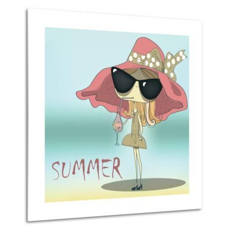 Funny Summer Girl Drinking the Cocktail.-Elena Barenbaum-Metal Print