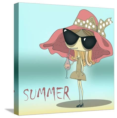 Funny Summer Girl Drinking the Cocktail.-Elena Barenbaum-Stretched Canvas Print