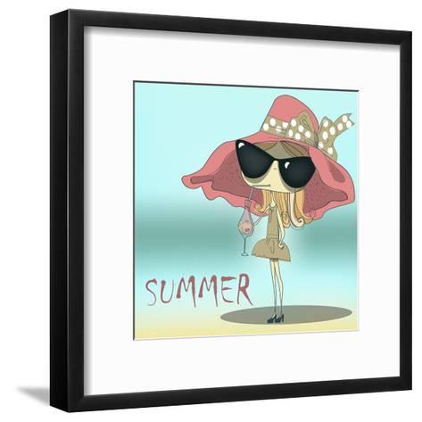 Funny Summer Girl Drinking the Cocktail.-Elena Barenbaum-Framed Art Print