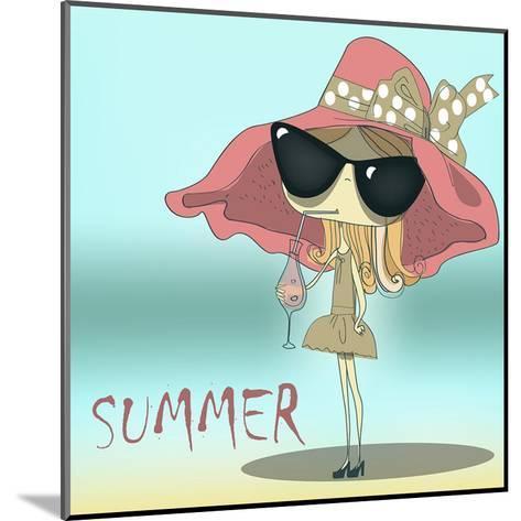 Funny Summer Girl Drinking the Cocktail.-Elena Barenbaum-Mounted Art Print