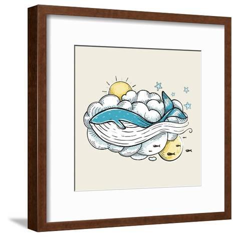 Romantic Whale Swimming in Clouds Retro Design. Hand Drawn Textured Vintage Print. Vector Illustrat-Popmarleo-Framed Art Print