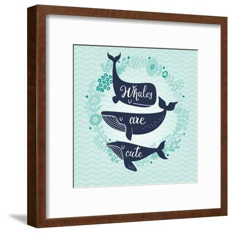 Whales are Cute. Awesome Whales on Marine Background with Floral Wreath in Vector. Lovely Childish-smilewithjul-Framed Art Print