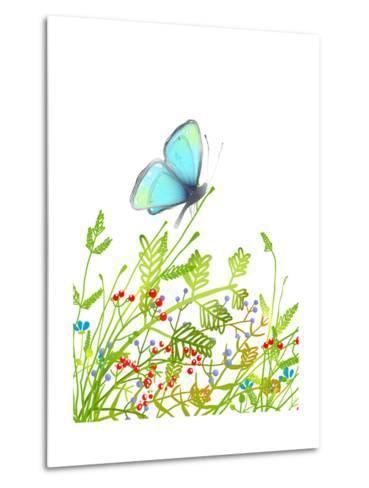 Hand Drawn Delicate Blue Butterfly Sitting on Grass. Aquamarine Butterfly Sitting in Field on Flowe-Popmarleo-Metal Print