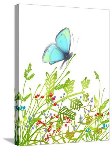 Hand Drawn Delicate Blue Butterfly Sitting on Grass. Aquamarine Butterfly Sitting in Field on Flowe-Popmarleo-Stretched Canvas Print