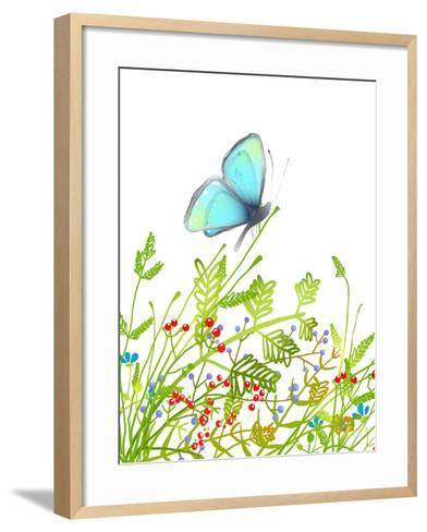 Hand Drawn Delicate Blue Butterfly Sitting on Grass. Aquamarine Butterfly Sitting in Field on Flowe-Popmarleo-Framed Art Print