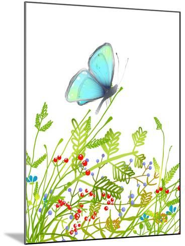 Hand Drawn Delicate Blue Butterfly Sitting on Grass. Aquamarine Butterfly Sitting in Field on Flowe-Popmarleo-Mounted Art Print