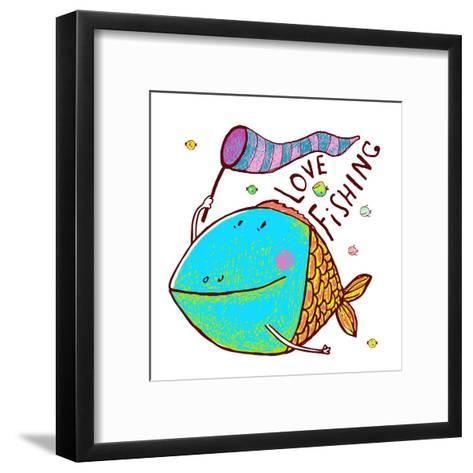 Cartoon Funny Fish Greeting Card Design Hand Drawn. Humorous Cartoon Hand Drawn Colorful Fish Holdi-Popmarleo-Framed Art Print