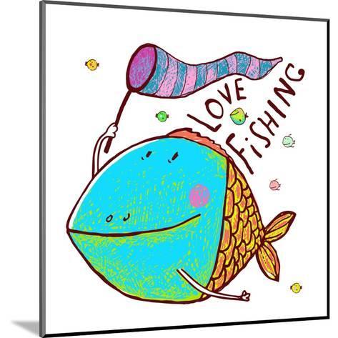 Cartoon Funny Fish Greeting Card Design Hand Drawn. Humorous Cartoon Hand Drawn Colorful Fish Holdi-Popmarleo-Mounted Art Print
