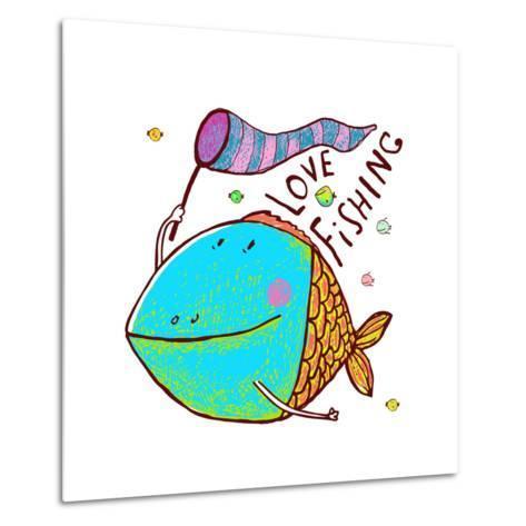 Cartoon Funny Fish Greeting Card Design Hand Drawn. Humorous Cartoon Hand Drawn Colorful Fish Holdi-Popmarleo-Metal Print
