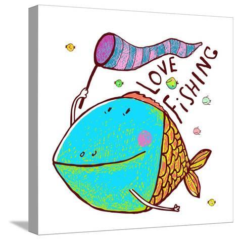 Cartoon Funny Fish Greeting Card Design Hand Drawn. Humorous Cartoon Hand Drawn Colorful Fish Holdi-Popmarleo-Stretched Canvas Print