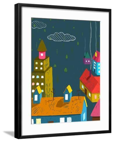 Small Town with Houses Roofs Forest Trees at Night. Colorful Dark Hand Drawn Sketchy Pencil Drawing-Popmarleo-Framed Art Print