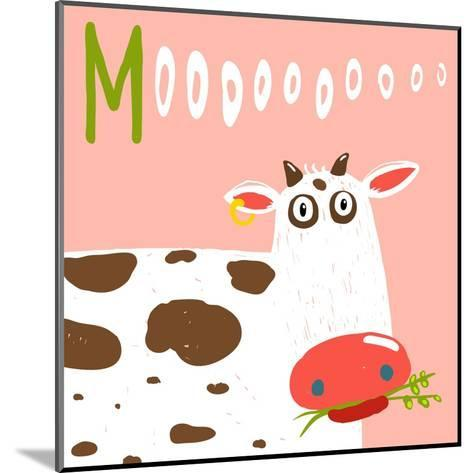 Curious Stupid Cow Eating Grass with Vacant Look. Fun Colorful Baby Animal Illustration of a Cattle-Popmarleo-Mounted Art Print