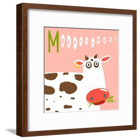 Curious Stupid Cow Eating Grass with Vacant Look. Fun Colorful Baby Animal Illustration of a Cattle-Popmarleo-Framed Art Print
