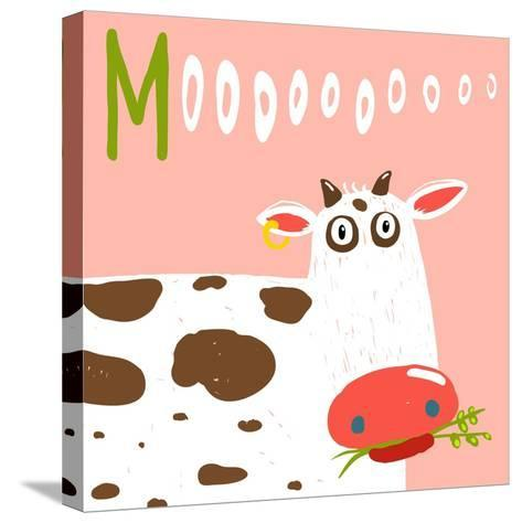 Curious Stupid Cow Eating Grass with Vacant Look. Fun Colorful Baby Animal Illustration of a Cattle-Popmarleo-Stretched Canvas Print