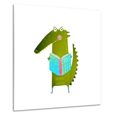 Childish Student Crocodile Reading Book and Study. Happy Fun Watercolor Style Animal Education for-Popmarleo-Metal Print