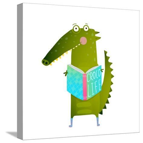 Childish Student Crocodile Reading Book and Study. Happy Fun Watercolor Style Animal Education for-Popmarleo-Stretched Canvas Print