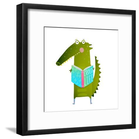 Childish Student Crocodile Reading Book and Study. Happy Fun Watercolor Style Animal Education for-Popmarleo-Framed Art Print