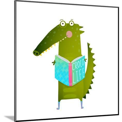 Childish Student Crocodile Reading Book and Study. Happy Fun Watercolor Style Animal Education for-Popmarleo-Mounted Art Print