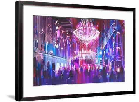 Interior Night Club with Bright Lights,Illustration Painting-Tithi Luadthong-Framed Art Print