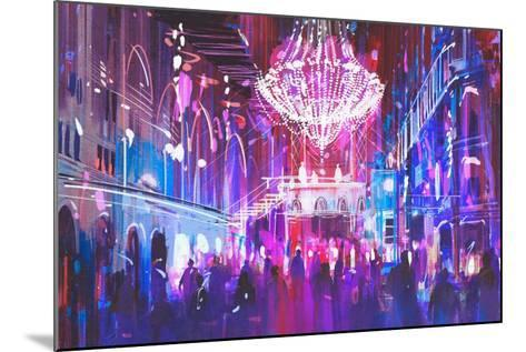 Interior Night Club with Bright Lights,Illustration Painting-Tithi Luadthong-Mounted Art Print