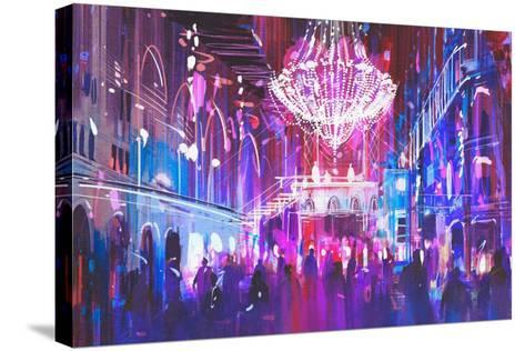 Interior Night Club with Bright Lights,Illustration Painting-Tithi Luadthong-Stretched Canvas Print