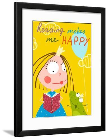 Curious Funny Little Girl Reading Fairy Tale Book to a Frog. Colorful Drawing for Children Holiday-Popmarleo-Framed Art Print