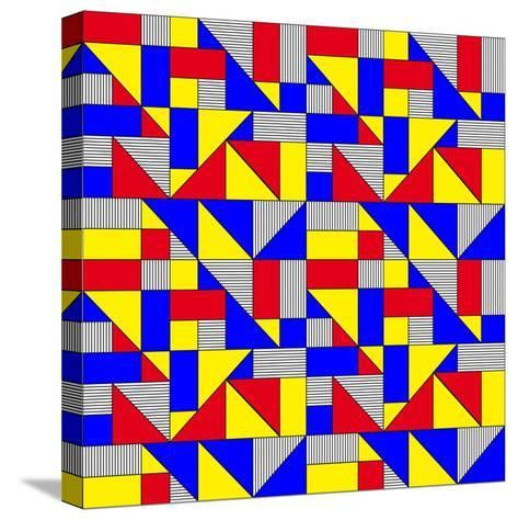 Triangles and Squares Geometrical Pattern-Bard Sandemose-Stretched Canvas Print