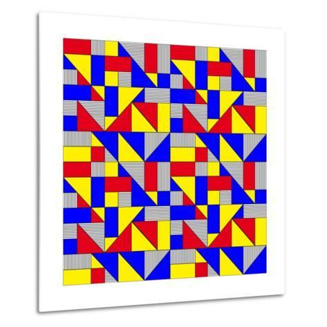 Triangles and Squares Geometrical Pattern-Bard Sandemose-Metal Print