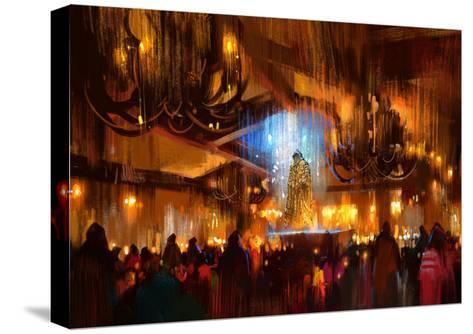Crowd of People Praying at Holy Night,Digital Painting-Tithi Luadthong-Stretched Canvas Print