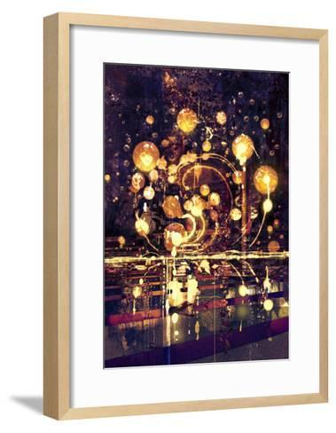 Light Bulb,Abstract Painting Concept,Illustration-Tithi Luadthong-Framed Art Print