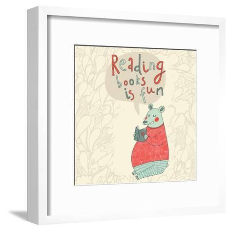 Reading Books is Fun - Cartoon Stylish Card in Vector. Cute Funny Bear Sitting and Reading an Inter-smilewithjul-Framed Art Print