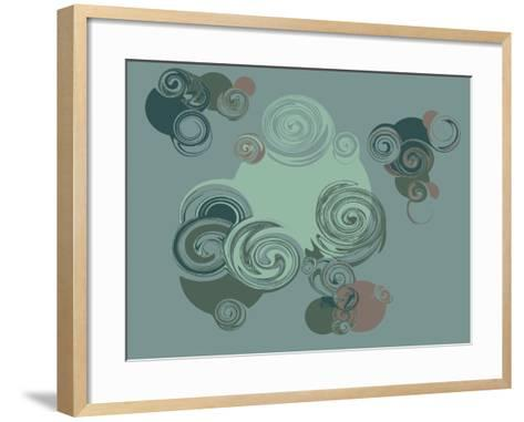Abstract Circles Pattern Background. Hand Drawn Vector for Calendar, Poster, Textile. Colored Sketc- CastecoDesign-Framed Art Print