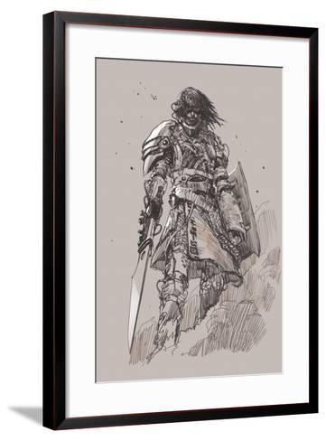 Futuristic Knight with Blade,Drawing,Sketch-Tithi Luadthong-Framed Art Print