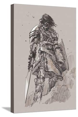 Futuristic Knight with Blade,Drawing,Sketch-Tithi Luadthong-Stretched Canvas Print