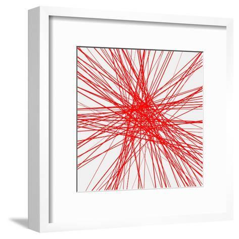 Light Abstract Background with Red Random Lines, Glitch Effect for Design Concepts, Posters, Banner-molaruso-Framed Art Print