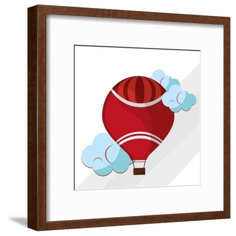 Hot Air Balloon Graphic , Vector Illustration- Jemastock-Framed Art Print