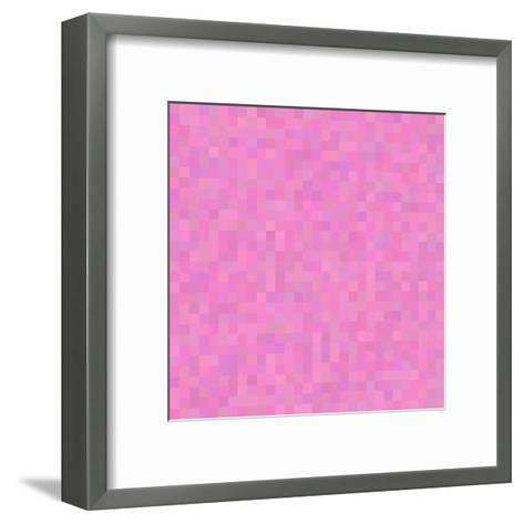Colorful Abstract Geometric Background. Pixel Background. Retro Grunge Poster Design. Background Ab- LEAF87-Framed Art Print