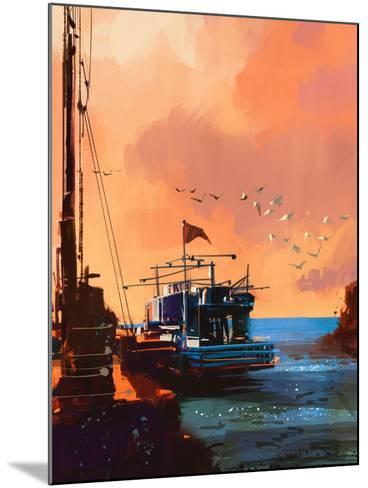 Painting of Fishing Boat in Port at Sunset,Illustration-Tithi Luadthong-Mounted Art Print