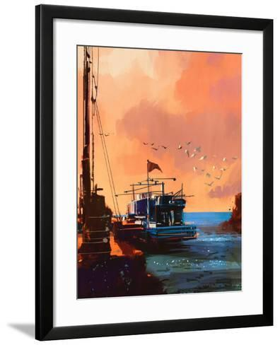 Painting of Fishing Boat in Port at Sunset,Illustration-Tithi Luadthong-Framed Art Print
