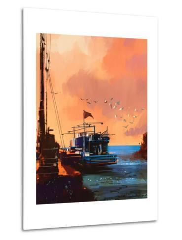 Painting of Fishing Boat in Port at Sunset,Illustration-Tithi Luadthong-Metal Print