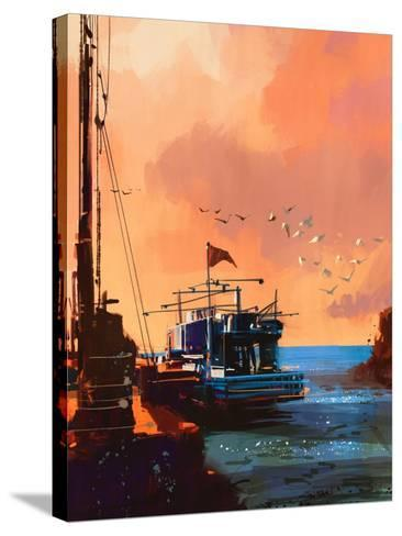 Painting of Fishing Boat in Port at Sunset,Illustration-Tithi Luadthong-Stretched Canvas Print
