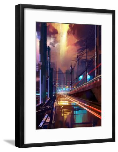 Digital Painting of Modern City Street at Night,Illustration-Tithi Luadthong-Framed Art Print